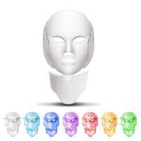 새로운 7 컬러 LED 마스크 라이트 테라피 얼굴 미용 기계 LED 얼굴 목 마스크 Microcurrent LED 피부 젊 어 짐 무료 배송