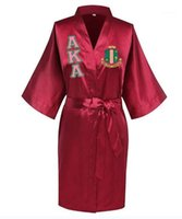 Sorority Fraternity Loose Silk Bathrobe Lace Satin AKA Clothes Robe1