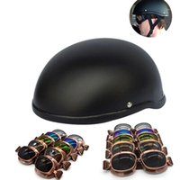 Unisex DOT Retro Motorcycle Helmets goggle Matte Black Germa...