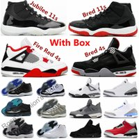 2021 Jubiläum Cool Grey 11 Männer Basketballschuhe Feuer Rot 4 Turnschuhe gezüchtet 11s Niedrige Gamma-Legende Universität Blau 4s Concord Space Jam Black Cat Weißer Zement Frauen UNC 3 Packung