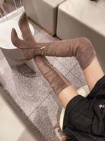 Kış Süet deri bayan uzun çizme kaymaz aşınmaya dayanıklı rahat spor ayakkabıları çizme, isim marka uzun boylu önyükleme kış moda kalın tabana vurma