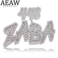 AEAW Benutzerdefinierte Hiphopjjewelry Rapper Schmuck Brief Moissanite Anhänger Solid 10k Weißgold oder S925 Silber Runde und Baguette 28Ctw
