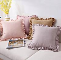 Katı Renk Ruffled Yastık Kılıfı Küçük Taze Yastık Süet Kanepe Başucu Yastık Ev Yatak Odası Yastık Kapakları