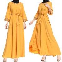 Повседневные платья платье леди мусульманские женские ютные блестки свободный с длинным рукавом круглые шеи фестиваль лето момент1