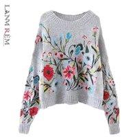 Ланмрем Корейский осень зима мода новый сплошной цвет круглый воротник с полным рукавом свободно вышитый свитер женщины V74702 201221