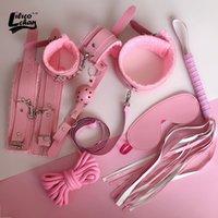 Lilicochan Sex-Product 7 PCS PU кожаный набор конденсаций BDSM Секс аксессуары регулируемые SM наручники наручники кнута веревка экзотические игрушки для женщины Y201118