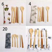 Piastre per stoviglie Set di bacchette Bamboo Coltelli Blocchi Cucchiai di stoffa Borsa in stoffa Spazzola Paglia Kit da posate 7 Pz / Set Set Dinner Sale Vendita calda 9WL G2