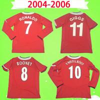 Manchester United Manchester United soccer jersey man utd 긴 소매 05 06 로날도 V. 니스텔로이 루니 솔샤르 RETRO 맨체스터 2005 년 2006 유나이티드 축구 셔츠 빈티지 축구 유니폼 빨간색 MAN UTD