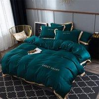 مجموعة مفروشات الفاخرة 4 قطع ورقة السرير شقة وجيزة حاف تغطية مجموعات الملك مريحة لحاف يغطي ملكة واحدة حجم أغطية السرير البياضات LJ201127