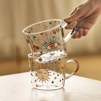500 ml Yaratıcı Ölçekli Cam Kupa Kahvaltı Süt Kahve Fincanı Ev Çift Su Kupası Güneş Göz Desen Drinkware