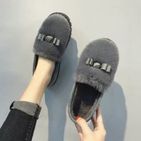 CINESSD Winter Cotton Slippers Women's Indoor Home Slippers Warm Cotton Shoes Bag Heel Plush Three Color Cotton Shoes Lady