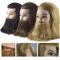 Erkek 100% Gerçek İnsan Saç Manken Uygulama Eğitim Kafası sakallı Kuaför Kuaförlük Manken Bebek Kafası Güzellik Okulu için