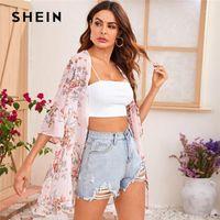 Shein Flush Sleeve Açık Ön Çiçek Baskı Şifon Kimono Kadınlar Yaz Longline Top Bayanlar Boho Sheer Kimonos1