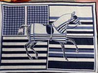 Winterdecke Weiche Dicke Wollschal Gute Qualität Blaue Pferd Muster Mode Decke Große Größe dicker Schal
