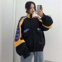 Oversize Jacket women Print Jacket women Bomber Streetwear Hip Hop Coat Size M-XL C124