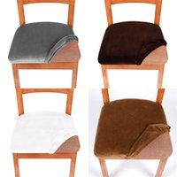 Spandex Elastische Sitzbezug Home Winter Massivfarbe Abnehmbare waschbare staubdichte Samtstuhlabdeckungen Esszimmerstühle Kissen 7ZF M2