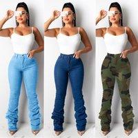 Señoras nueva moda apilada pantalones pantalones pantalones de cintura alta camuflaje de mezclilla jeans para mujeres pantalones de mamá pantalones anchos pantalones