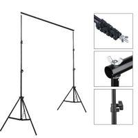 6.6FTX9.8FT Ajustável Backdrop Stand Crossbar Kit 2x3m Fotografia Photo Video Backdrop Stand Kit para Muslins Backdrops Black Best Seller