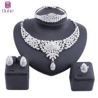 Frauen Schmuck Sets Gold Farbe Aussage Strass Kristall Halskette Ohrring Dubai Bridal Party Hochzeit Afrikanische Perlen Zubehör