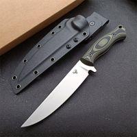 Coltello da caccia dritta di sopravvivenza all'aperto di alta qualità 9Cr18mov Punto di goccia satinato Blade full Tang G-10 Maniglia con Kydex