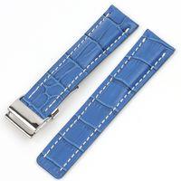 Atacado Genuine Leather Watch Band Watchband Fit para Bre Strap para Avenger / Navitimer Watch Strap com Implantação Fivela 22mm 24mm