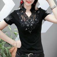 Sommer Koreanische Kleidung T-shirt Mode Sexy Stickerei Diamanten Frauen Tops Ropa Mujer Baumwolle Kurzarm Hemd T-Shirt T-Shirt Neue T03803