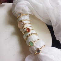 8 pz / set anelli di pietra colorati vintage set moda metallo twist anelli anelli anelli banda per le donne ragazza fata amicizia gioielli regalo di Natale
