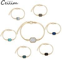 Новые ручной работы хрустальные смолы Druzy прибытие браслет красочные натуральные каменные браслеты браслеты для женщин золотые серебряные украшения подарок оптом