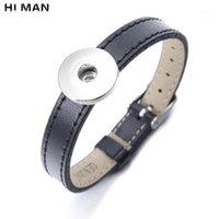 Charme Armbänder Trendy Simple Leder Armband Für Männer Frauen 18mm Snap Knöpfe Schmuck Mode DIY Armband Freundschaftsgeschenke Großhandel1