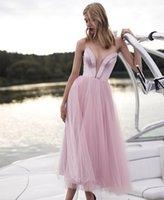 Neueste Sweetheart Prom Kleider Sexy Sheer Stürzen Halsausschnitt Homecoming Party Gonws Tee Länge Tüll A Line Girls Special Gelegenheit Tragen