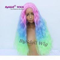 Tre Tone Ombre Parrucca per capelli sintetica Fluffy Mais Kinky Capelli ricci Mermaid Parrucca pastello rosa blu verde colore parrucche anteriori in pizzo pizzo