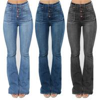 Alta cintura para mujer Corte de botas Pantalones vaqueros Fashion Skinny Denim Jeans Casual delgado Pantalones de destello de pierna ancha delgada de la pierna grande Ropa de tamaño XS-4XL