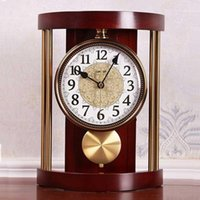 الأوروبي الرجعية الصلبة الخشب الجدول ساعة خمر المعادن ساعة الحائط غرفة المعيشة مكتب الأزياء الإبداعية الأمريكية الحلي مكتب 1