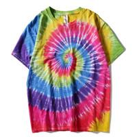 Plegie Kravat Boya T-shirt Unisex 2020 Yaz Hip Hop Yuvarlak Boyun erkek Düzensiz Desen Tişörtleri 100% Pamuk Gevşek Tee Gömlek LJ200827