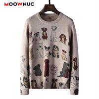 Мужские свитера пуловер свитер для мужчин О-шеи повседневная мода 2021 весна осень с длинным рукавом рубашка подходит мужской напечатанный гомбр бренд moow