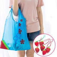 Forma portatile di fragola per stoccaggio Nylon Grocery Shopping Bag Convenience Reusable Women Supplies Pieghevole Pulgiopabile