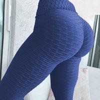 스포츠웨어 여자 체육관 다리 높은 허리 푸시 위로 누적 된 레깅스 엉덩이 요가 바지 여성 피트 니스 스포츠 스타킹 운동 Q1224