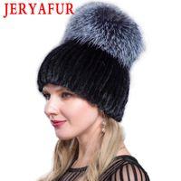 Beanie / черепные колпачки Jeryafur русская модная шапка зимняя женская крышка лыжный мех