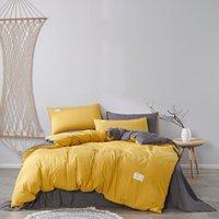سرير أغطية السرير مجموعة الفراش للمنزل الصلبة لحاف لحاف الغطاء الأسرة الكبار القطن القطن وسادات التوأم كامل الملكة الملك الحجم 4 قطع