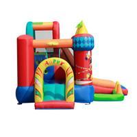 جميل Circus Castle 5-in-1 Playhouse Combo Garden Formie Ringside الشريحة مع الكرة حفرة أطفال عقبة بالطبع ث / كرة السلة طارة