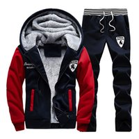 Winter Men' s Fleece Sportwear Suits Male Letter Printin...