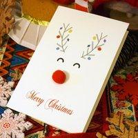 الكرتون 3d اليدوية ثلاثي الأبعاد غزل الكرة الأحمر الأنف بطاقات المعايدة الأيائل عيد الميلاد بطاقة الصوف الكرة الغزلان diy بطاقة عيد الميلاد 15 سنتيمتر
