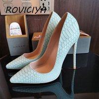 Elbise Ayakkabı Güzel Yeşil Yılan Desen Kadın Kızlar Seksi 12 cm Yüksek Topuklu Baskılı Toe Stilettos Düğün Artı Boyutu 33 34 YG034 Roviciya