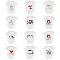 Sommer Kleinkind Neugeborene Baby Strampler Kleiner Junge Mädchen Strampler Jumpsuits Buchstaben Cartoon Weiß Pyjamas Säuglingsbaumwolle Eine Stück Kleidung G12703