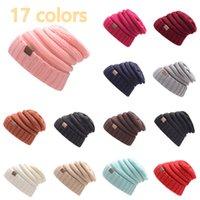 Verkaufen Sie gut Kennzeichnung Gestrickte Wollhut Herbst- und Winter-Pullover-Hut Männer Frauen im Freien warme Hüte 17 Farben neutral