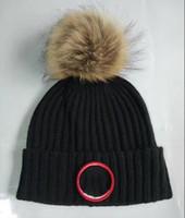새로운 패션 캐나다 비틀기 모자 모자 겨울 비니 니트 모자 모피 공 모자 두개골 두꺼운 마스크 프린지 모자 모자 남자 mn
