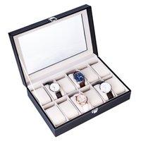 12 Gitter Lederuhr Aufbewahrungsbox Doppelschicht Elegante Schmuckkollektion Lageruhr Showcase Box Schwarz