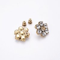 Luxo Designer Jóias Mulheres Brincos Diamante Stud Com Carta Selo Latão Com Ouro Banhado Pérola Brinco Elegante Moda Jóias