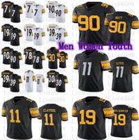 Hombres Mujeres Juvenil Football 11 Chase Claypool 19 Juju Smith-Schuster 90 T.J. TJ Watt Shazier Bush Conner Minkah Fitzpatrick Jersey