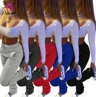 المرأة السراويل capris مكدسة النساء عادي اللون sweatpants الرياضية جرس أسفل طماق مطوي دافئ سميكة الصوف البضائع اللياقة البدنية السراويل
